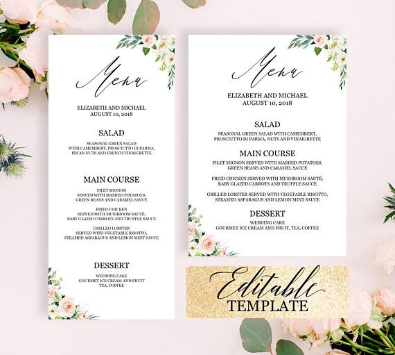 printable menu cards for wedding bridal shower menu template floral dinner party menu template