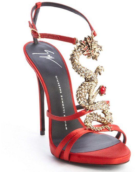 Giuseppe Zanotti red satin strappy dragon emblem sandals