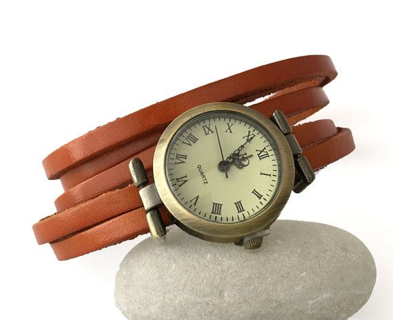montre bracelet cuir femme marron