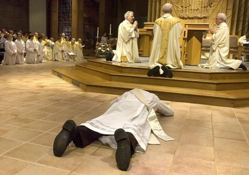 Symbols Laying Down On The Floor Is A Symbol Of The Holy Orders It Is Done To Show Humility While People Catholic Teaching Sacrament Of Holy Orders Catholic