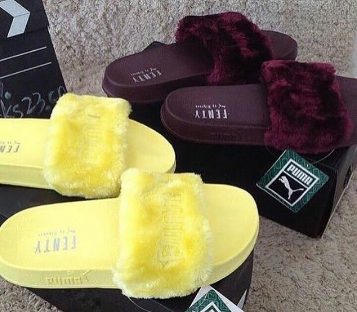 Custom colored fenty puma slides  yellow  maroon  913b4b022