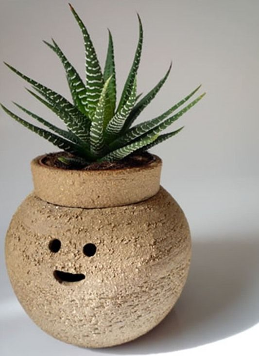 Funny Cute Ceramic Pot For Plants To Bring Back Good Mood On Pots . Design Ideas