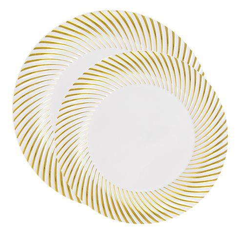 Florence White with Gold Rim Plastic Plates Set  sc 1 st  Pinterest : posh disposable plates - pezcame.com