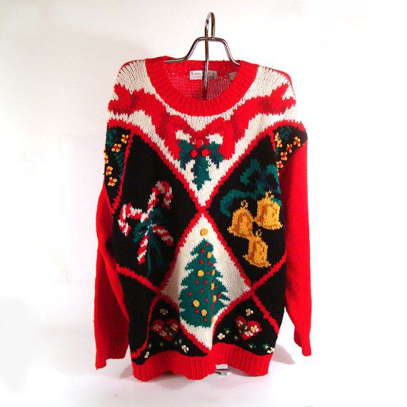 Ugly Christmas Sweater Vintage  Holiday by purevintageclothing