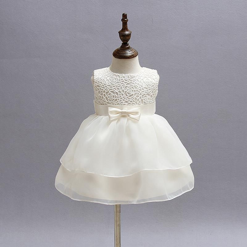 5dd86489fb4 White Lace Baby Girl Wedding Pageant Dress Infant Princess Little Girls 1  Year Birthday Party Dresses Newborn Christening Gowns.