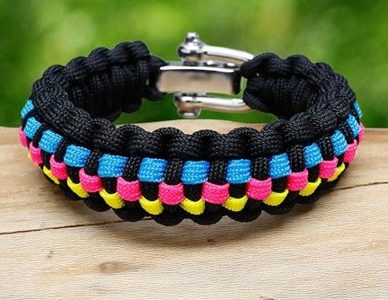 Checkered Survival Bracelet Blue Baby Top Line Pink Neon