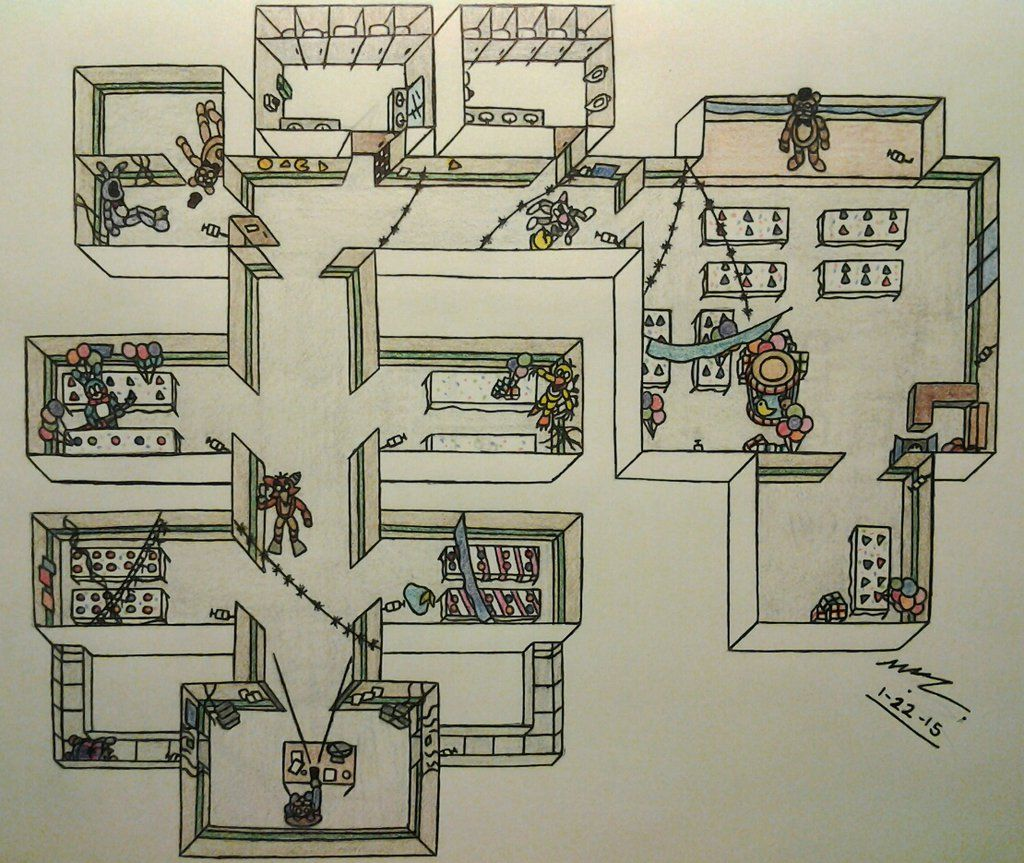 FNAF2 Map Layout - During Gameplay by Sega-HTF deviantart