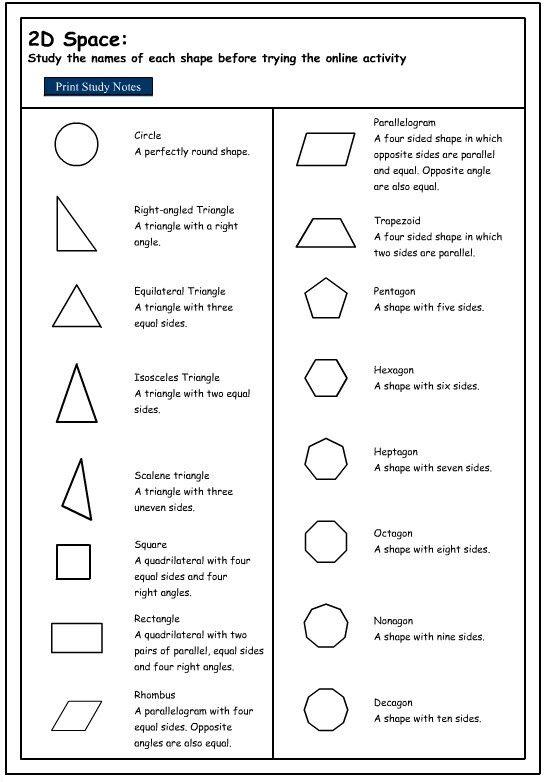 Shape definitions   Maths   Properties of 2d shapes, Shape