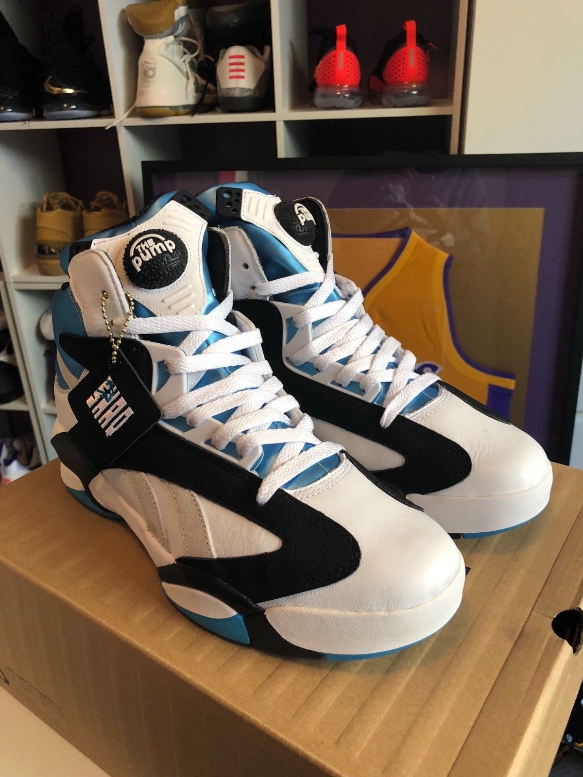 1f2bb55ff8d7 Details about 2013 Reebok Pump Shaq Attaq Retro OG Black Azure ...