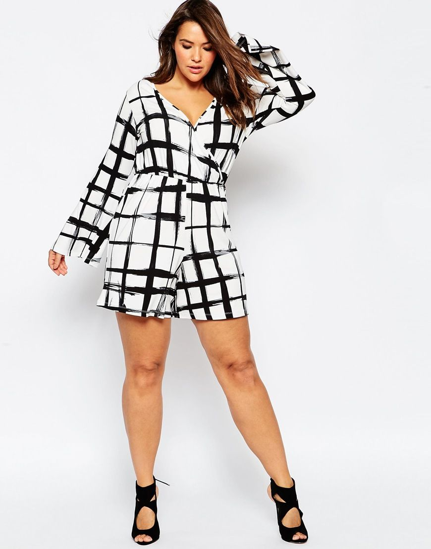 7bc9ee389d Plus Size Bell Sleeve Playsuit in Grid Check