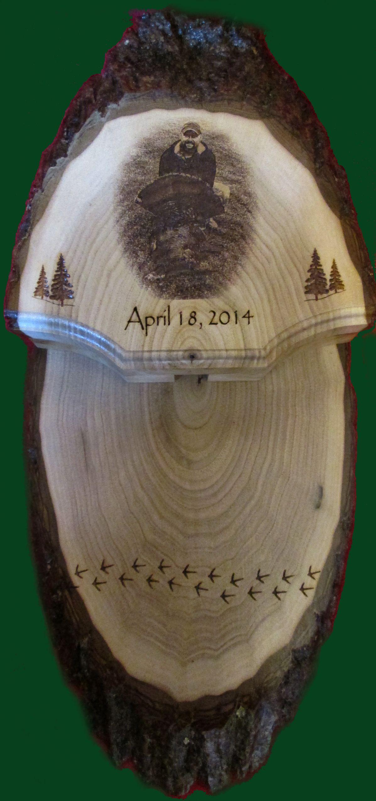 A wonderful way to display your turkey fan and beard send