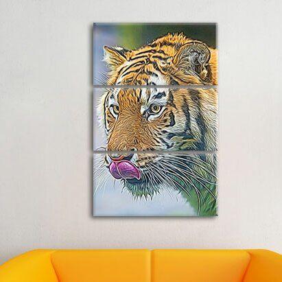 Graceful Tiger 3 Piece Graphic Print on Canvas Set Pixxprint