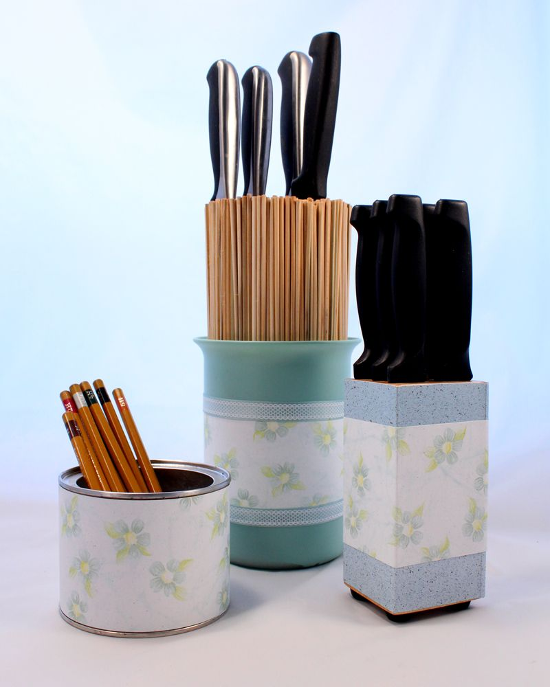 another bright idea Safe Kitchen Knife Storage using bamboo skewers & Store your #kitchen knives safely and easily with bamboo sticks and ...
