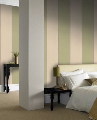 Imperial Soft Green Cream Wallpaper Striped Wallpaper Brown Wallpaper Home Decor Green white gold wallpaper stripes
