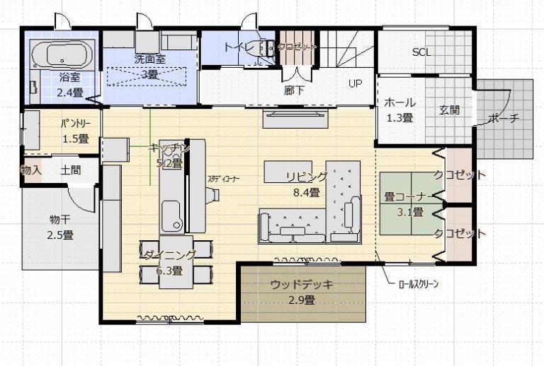 間取り成功例40坪 横並びキッチンの家事と子育てを楽しむ家 間取り