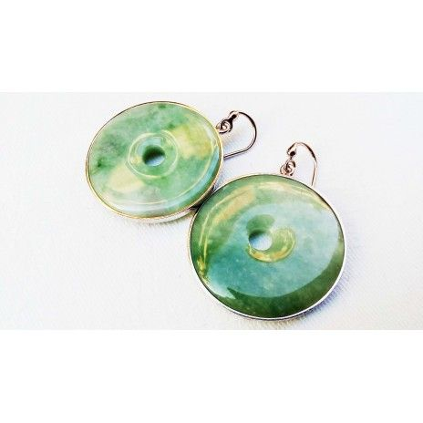 Light green jade earrings in Italian rhodinated silver...beauty and health ...ultimate detox stone ...