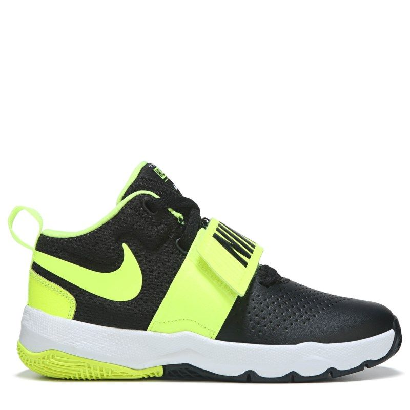 b1b768bce9ac Nike Kid s Team Hustle D8 Basketball Shoe Preschool Shoes (Black Volt) -  10.5 M