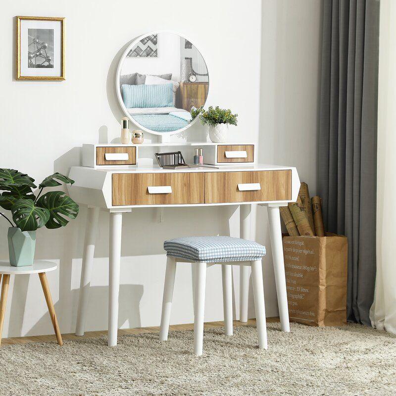 Ebern Designs Coggan Vanity Set With Mirror Wayfair Vanity Table Set Vanity Set Vanity Set With Mirror