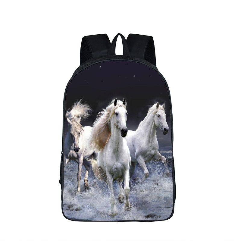 ec8e2e136e Children Animals School Bags Unicorn   Crazy Horse Backpack Rainbow Pony  Bag Backpack For Teenagers Boys Backpacks Mochila
