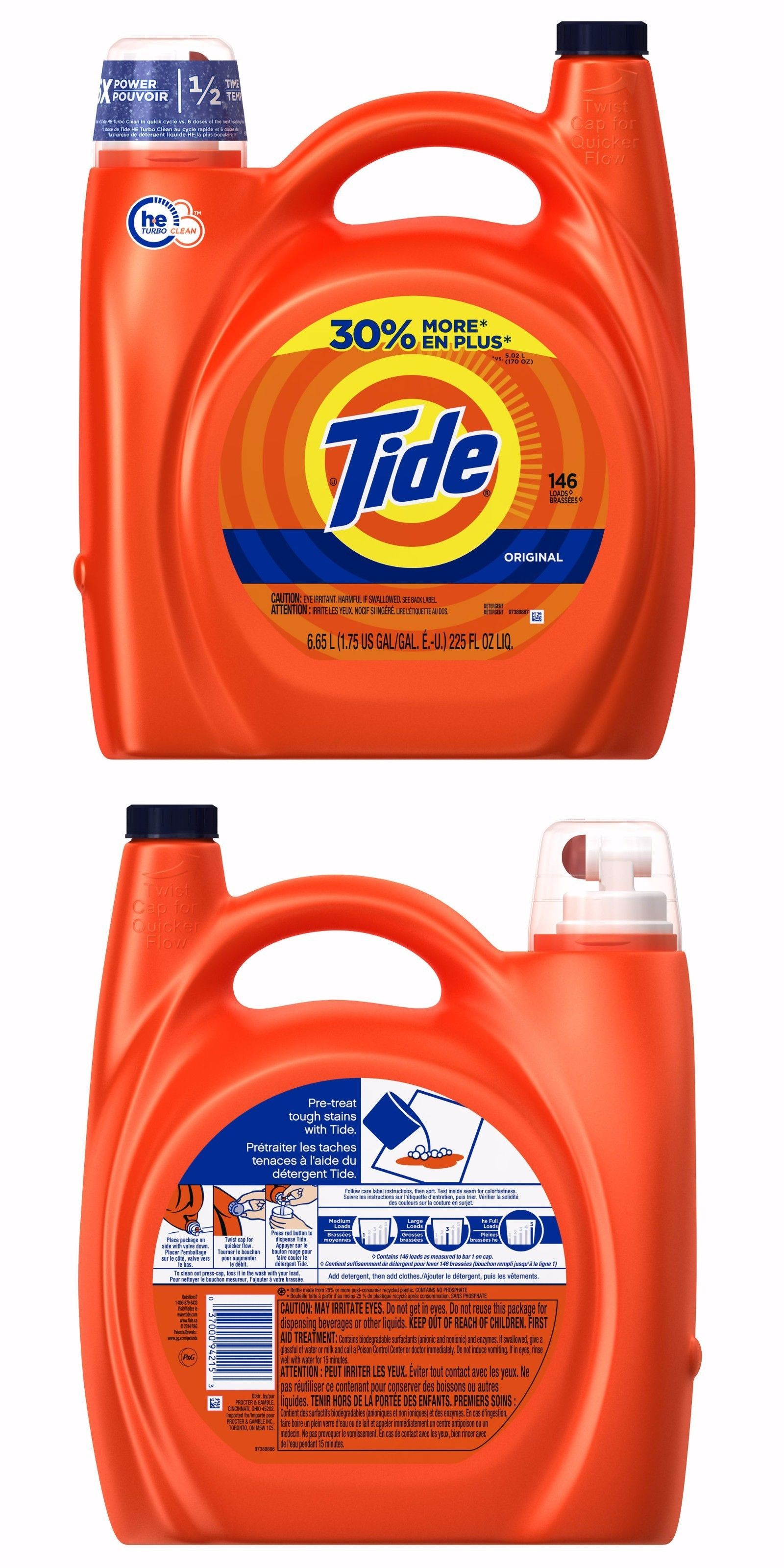 Detergents 78691 Tide He Original Laundry Detergent 225 Fl Oz