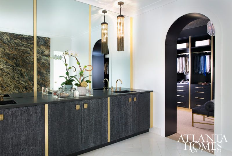 White, black and brass accents preside over this master bath. // Atlanta, GA