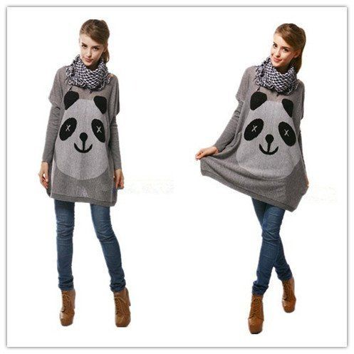 Cute Panda Face Oversized Knitwear Jumper Dress