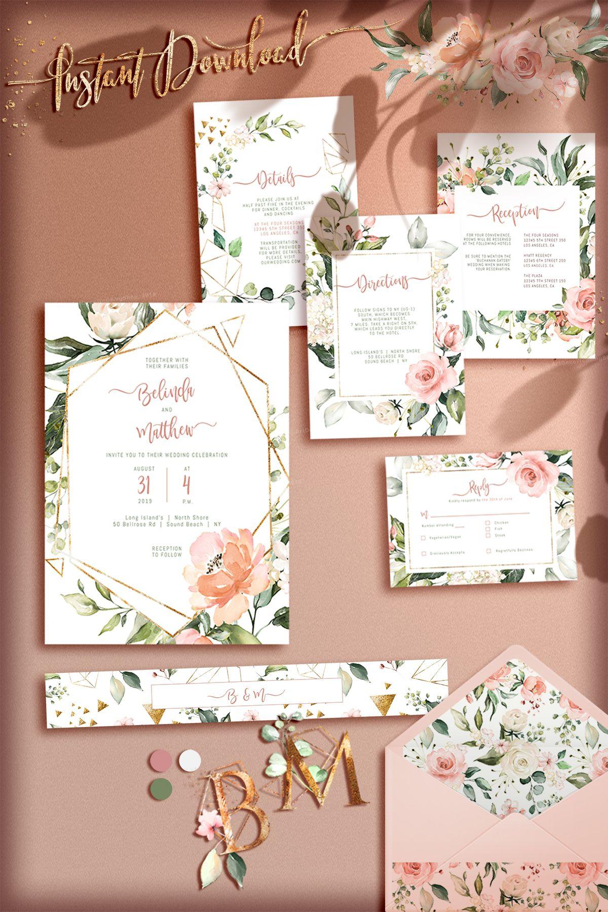 63b68362f262e BOHEMIAN Wedding Invitation Template with Watercolor Eucalyptus Boho ...