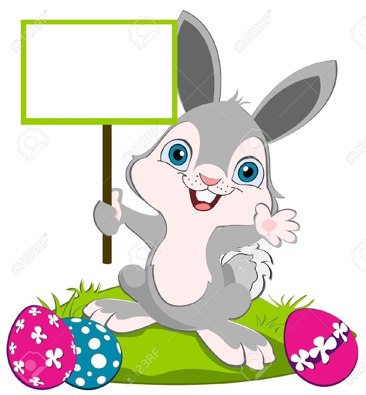 Easter Bunny holding a board and weaving, colorful eggs on the ...