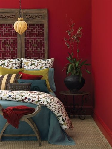 I Want This Bedroom Have Red Walls But A Lime Green Bedspread With Cool Pillows