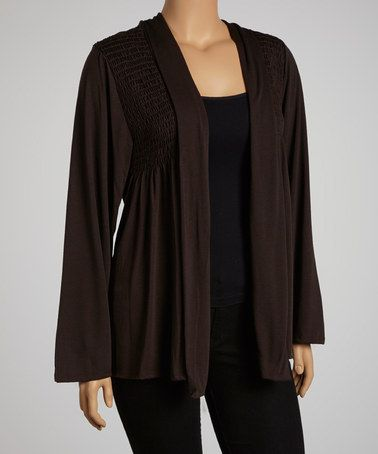 Take a look at this Brown Smocked Open Cardigan - Plus by Yummy on #zulily today!