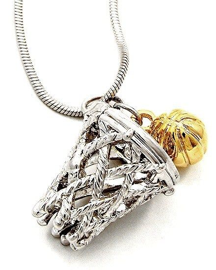 Sterling Silver /& Gold Plated Basketball and Hoop Charm Sports Pendant