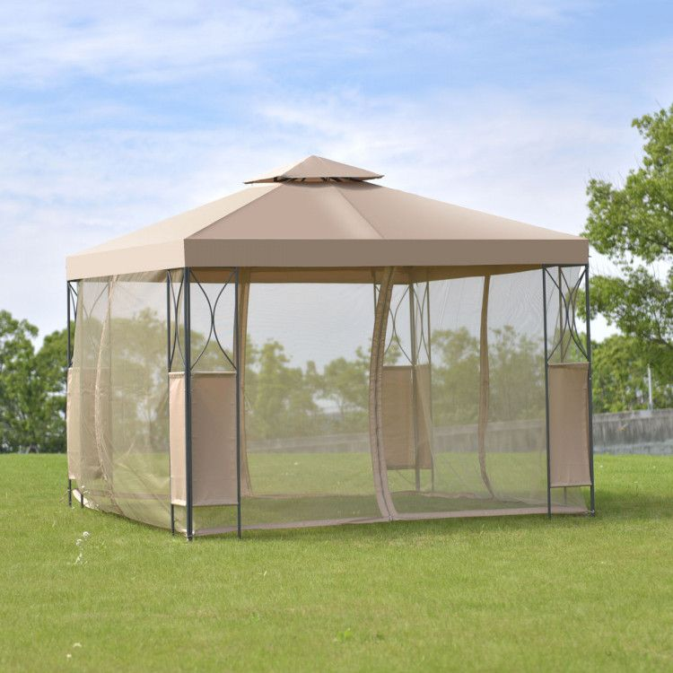 2 Tier 10 X 10 Patio Steel Gazebo Canopy Shelter Canopies Gazebos Outdoor Structures Outdoor Living In 2020 Gazebo Canopy Patio Canopy Canopy Tent Outdoor