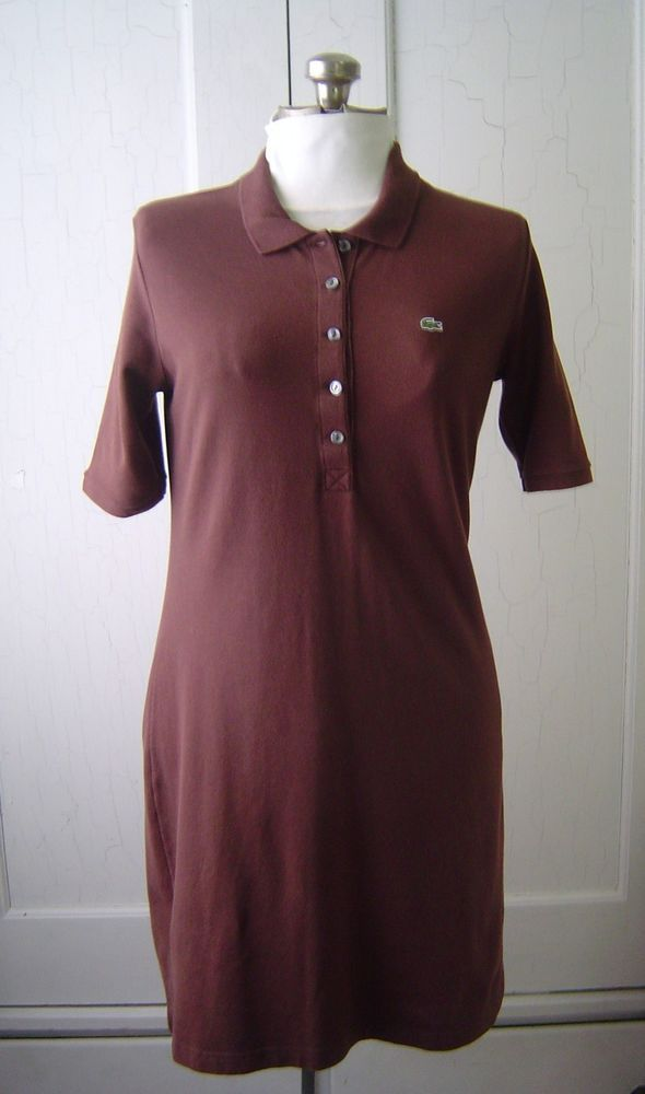 ef1ebfc9c156 LACOSTE Dress POLO Women's Sz 42 L BROWN Pique Short Sleeve Cotton Blend  F225 #Lacoste #Polo #Casual