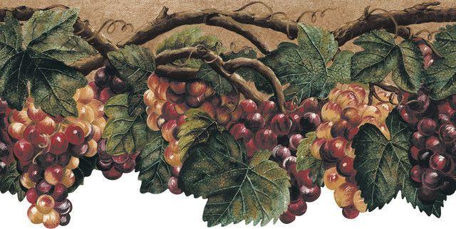 Wallpaper Border Tuscan Grape Leaves Grapevine With Grapes Wallpaper Border Grape Vines Grape Leaves