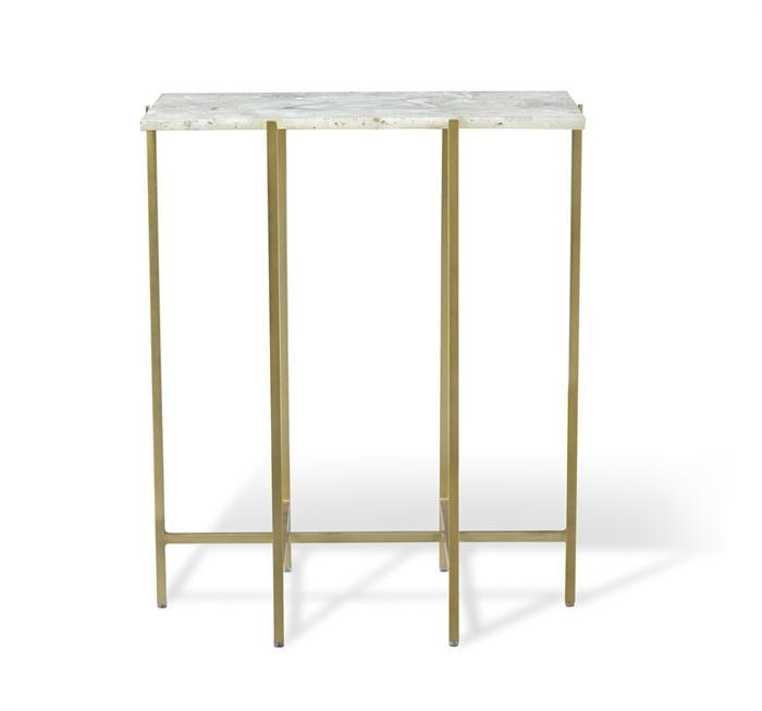 Leonie Rectangular Side Table In White Tall Accent