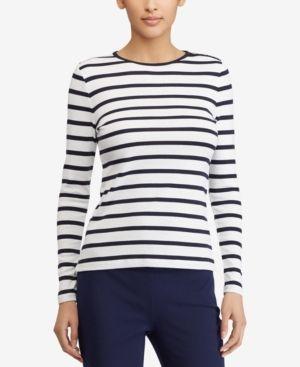 f93ea921 Lauren Ralph Lauren Button-Shoulder Striped Top - White/Regal Navy XXL