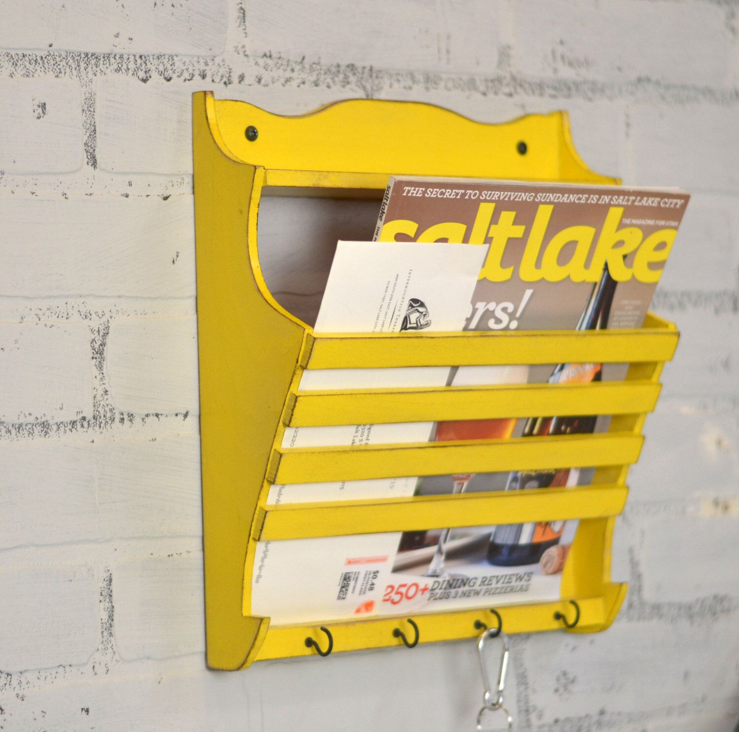 Handmade Wall Mounted Mail and Key Holder in Color OF YOUR CHOICE ...