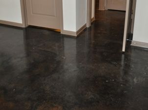 black stained concrete floors. like these black concrete floors  inspiration for the home