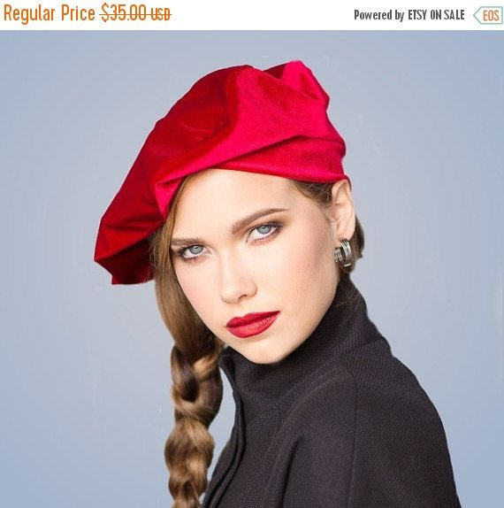2befa7d9136f9 Red Velvet Beret French Beret Large Beret Slouchy Hat Chemo Hat Alopecia Hat  gift USD) by TurbanDiva