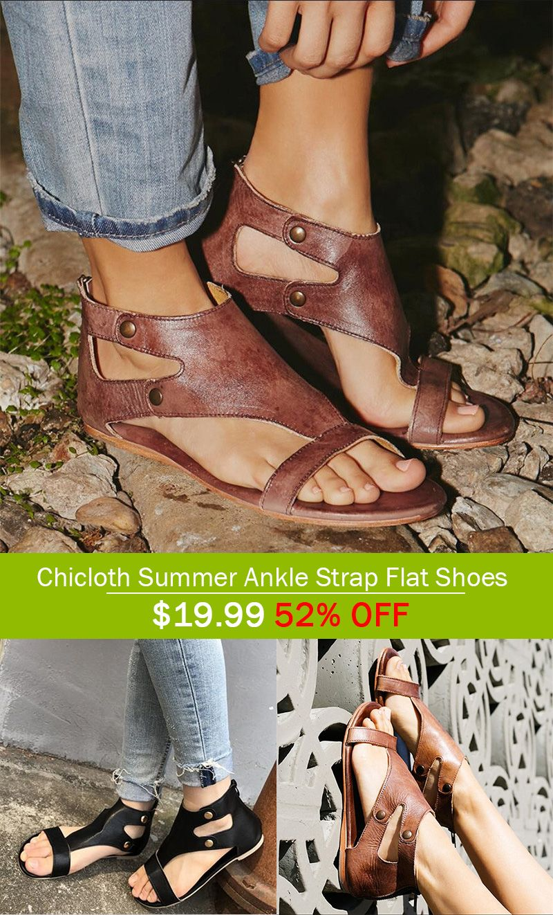 A Chicloth Summer Ankle Strap Flat Shoes Ankle Strap Flats Sandal Fashion Fantastic Shoes