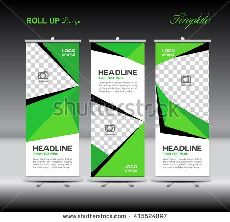 green roll up banner template vector illustration, polygon