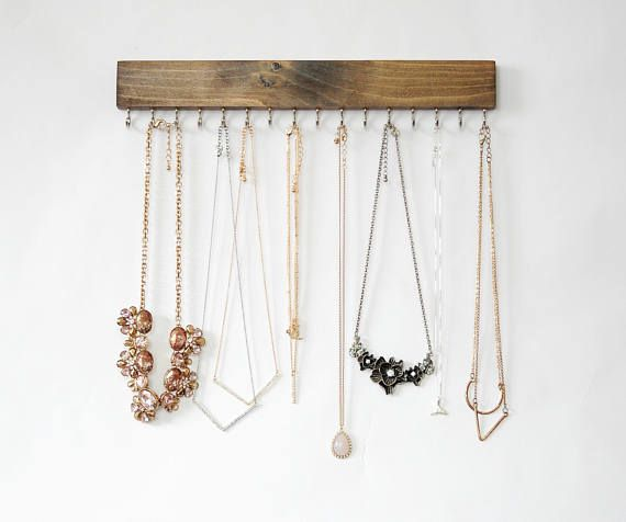 Wall Mount Jewelry Organizer Necklace Holder Etsy In 2021 Organization Earring Storage