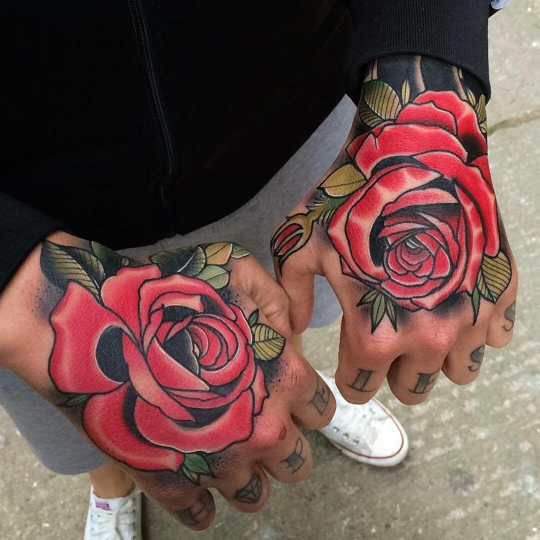 Neo traditional roses Rose tattoos for men, Rose hand tattoo