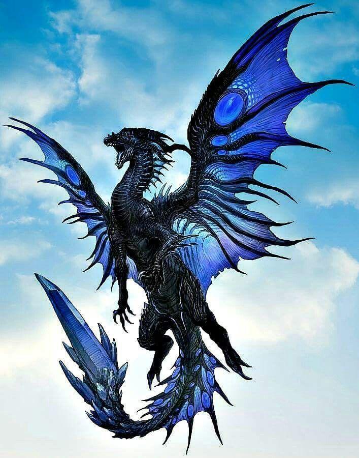 青くて綺麗なドラゴンが飛んでいる壁紙