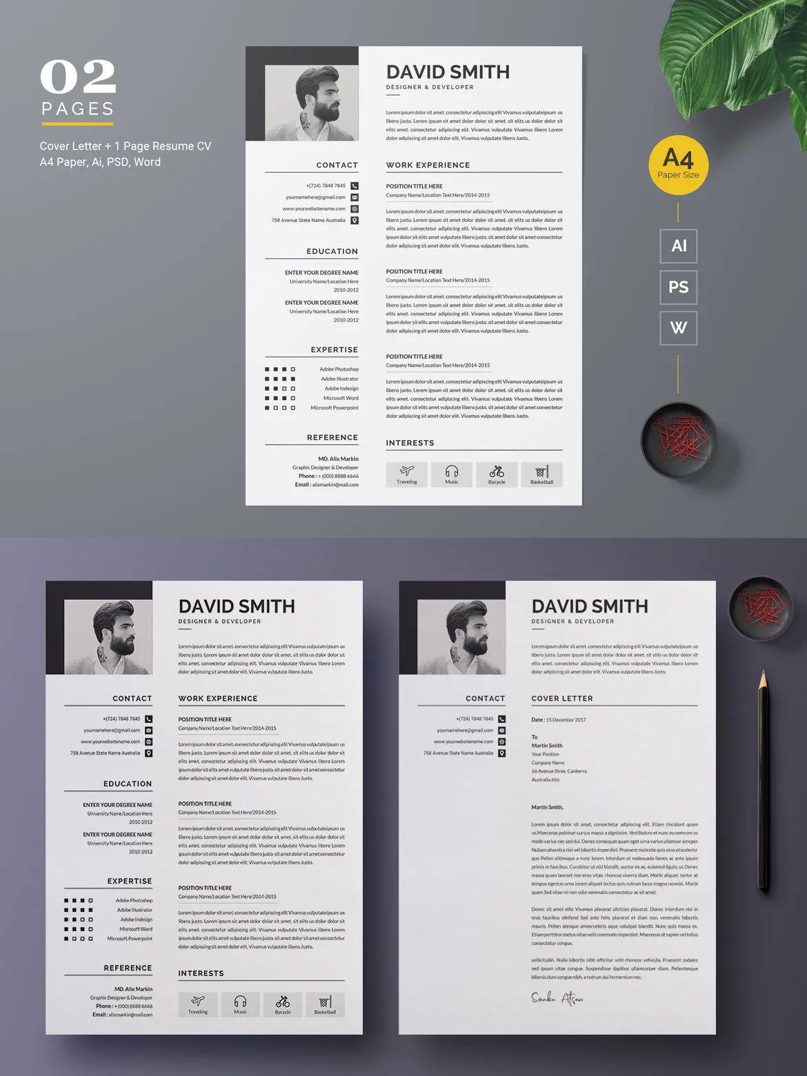 Modern Resume Cv Template Cv Template Resume Cv Cv Design Template
