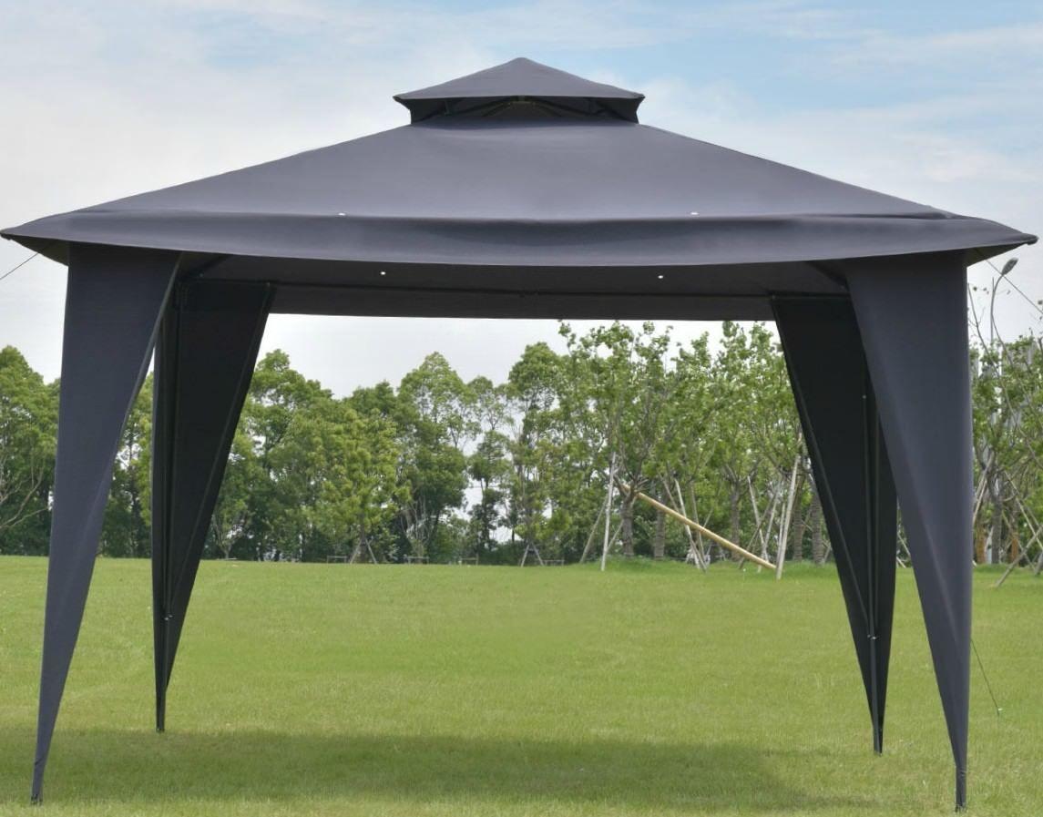 Steel Gazebo Waterproof Shelter Tent Canopy Metal Vented Black