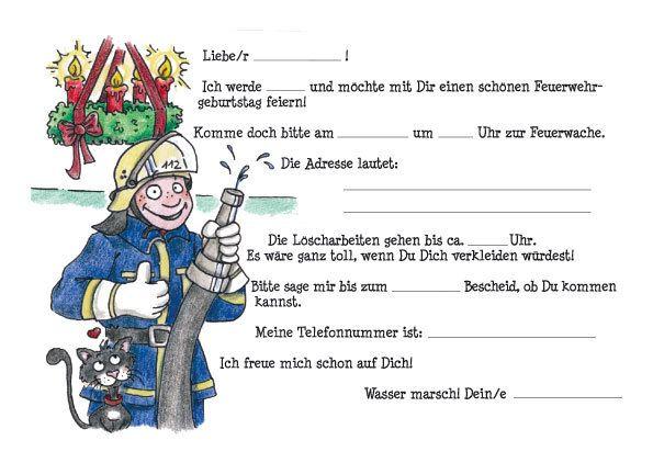 einladung feuerwehr | kindergeburtstag | pinterest, Einladung