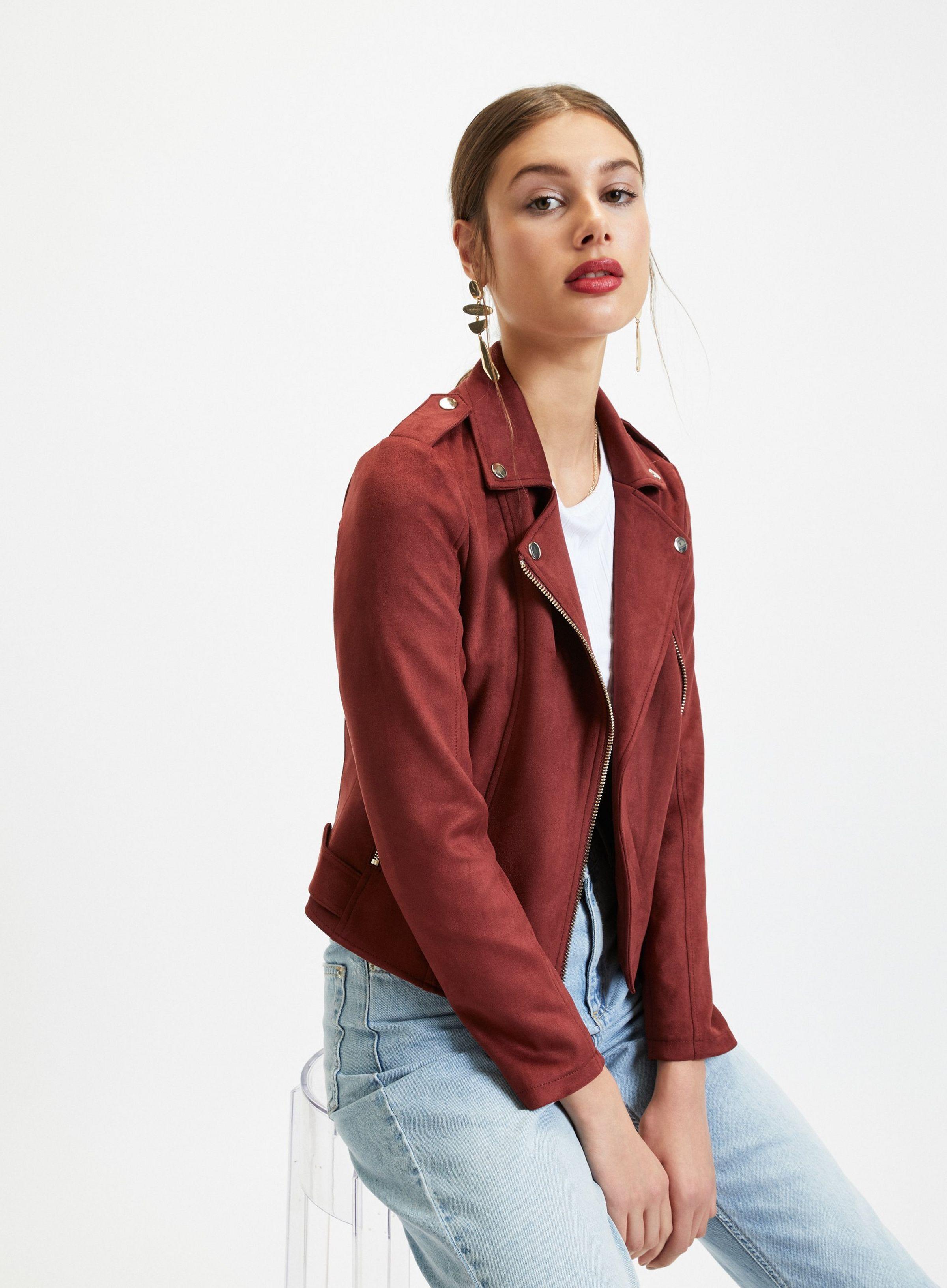 Burgundy Suedette Biker Jacket in 2020 Jackets, Jacket
