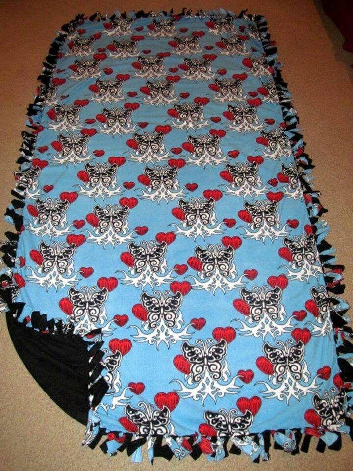 Butterfly Love Tattoo w/ Black back Fleece Tie Blanket