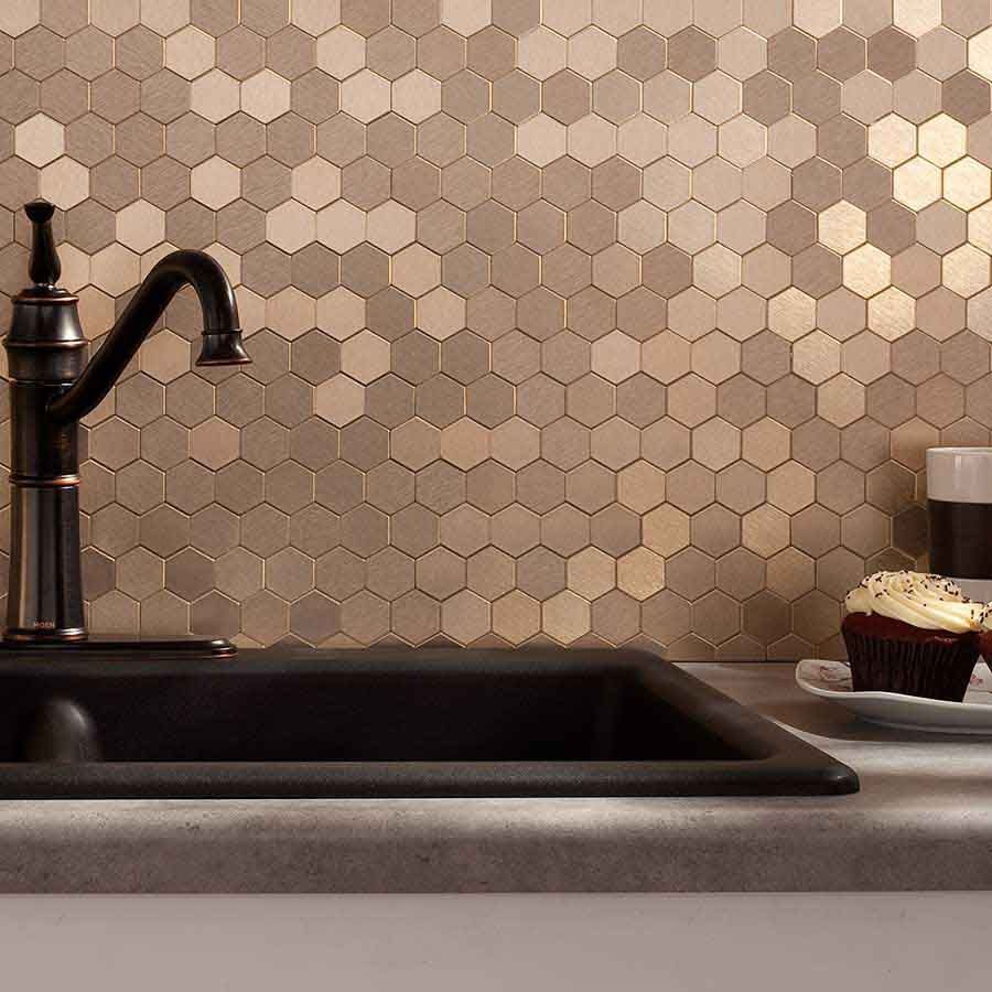 Picture of aspect honeycomb champagne matted backsplash concrete picture of aspect backsplash honeycomb champagne matted dailygadgetfo Image collections